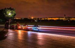 Motorcycles  starting off at night in Washington DC Royalty Free Stock Photography