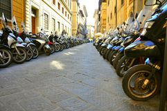 Motorcycles on a street in Italy Royalty Free Stock Image