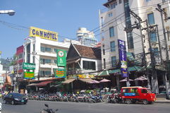 Motorcycles on the street in Patong Royalty Free Stock Photos