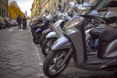 Motorcycles in the streets of Italian cities Stock Photos