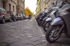 Motorcycles in the streets of Italian cities Royalty Free Stock Photos