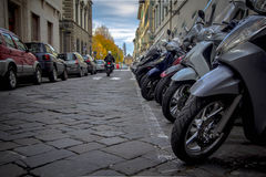 Motorcycles in the streets of Italian cities Royalty Free Stock Images