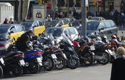Motorcycles parked in Barcelona. Spain Stock Photos