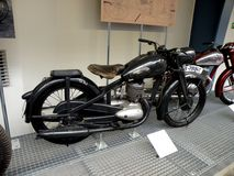 Motorcycles Technical Museum in Prague. The vintage motorcycles, the Technical Museum in Prague stock image