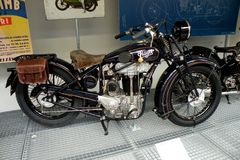 Motorcycles in Technical Museum in Prague 2. The vintage motorcycles, the Technical Museum in Prague stock image