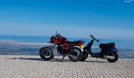 Motorcycles at the top of hill Royalty Free Stock Photo