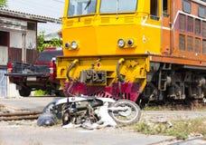 Motorcycles train crash. Stock Photo