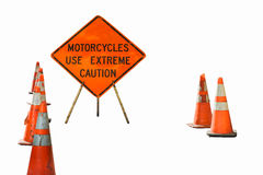 Motorcycles use extreme caution sign Stock Image