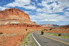 Motorcycling through Capitol Reef National Park stock photos