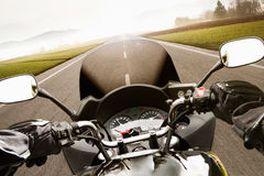 Motorcycling. From the driver's perspective stock images