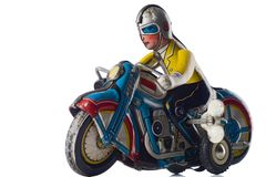 Motorcyclist. A windup tin toy - motorcyclist Royalty Free Stock Photos
