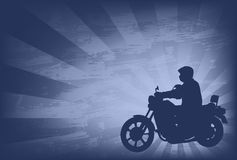 Motorcyclist on the abstract background Stock Photography