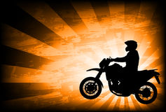 Motorcyclist on the abstract background Stock Image