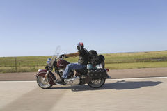Motorcyclist with American flag bandana Royalty Free Stock Images