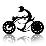 Motorcyclist on bike. Biker rides motorcycle abstract silhouette illustration over white background Stock Photography