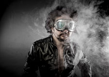 Motorcyclist, biker with sunglasses era dressed Leather jacket, Stock Photo