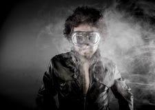 Motorcyclist, biker with sunglasses era dressed Leather jacket, Stock Image