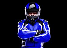 Motorcyclist in blue equipment Stock Photography