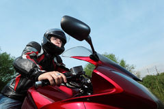 Motorcyclist, bottom view stock photography
