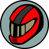 Motorcyclist or car driver racing helmet. Vector. Illustration of a motorcyclist or car driver racing helmet. Vector file available in EPS format Stock Image