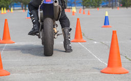 Motorcyclist on competition start Royalty Free Stock Image