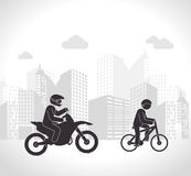 Motorcyclist and cyclist urban background Royalty Free Stock Images