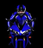 Motorcyclist in dark blue Royalty Free Stock Images