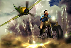 Motorcyclist and fighter. Scene representing a motorcyclist pursued by a second world war fighter plane which shoots at him Royalty Free Stock Photography