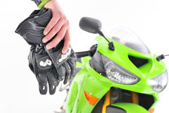 Motorcyclist gloves Stock Photo