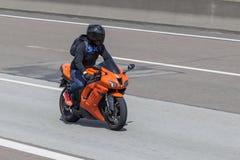 Motorcyclist on the Kawasaki Ninja Stock Photography