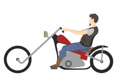 Motorcyclist on motorbike ,  illustration. Motorbiker. Motocross race. Royalty Free Stock Image