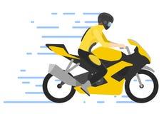 Motorcyclist on motorbike ,  illustration. Motorbiker. Motocross race. Royalty Free Stock Photography