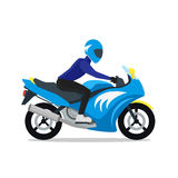 Motorcyclist on Motorbike. Vector Royalty Free Stock Photography