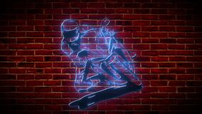 Motorcyclist neon icon. Simple icon for websites, web design, mobile app, info graphics