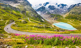 Free Motorcyclist On Mountain Pass Road In The Alps Royalty Free Stock Images - 68572879