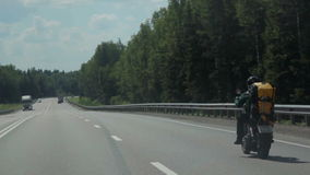 Motorcyclist on the Open Road stock footage