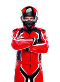 Motorcyclist in red equipment Stock Images