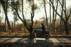 Motorcyclist ride on an old cafe-racer motorcycle, autumn background Stock Photography