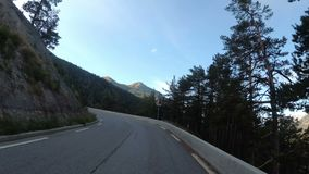 Motorcyclist Rides on the Scenic Mountain Road on Serpentine in the Mountains of France. Provence. First-person view. Viewpoint of a biker riding down a stock video footage