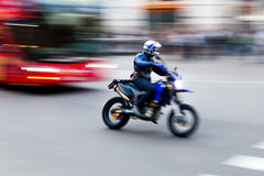 Motorcyclist on the road stock image