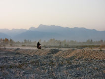 Motorcyclist on the road. In Italy Stock Photography