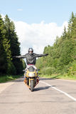 Motorcyclist on the road Royalty Free Stock Image