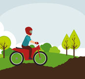 Motorcyclist on rural road landscape Stock Photos