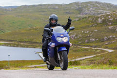 Motorcyclist in the Scottish Highlands Stock Image