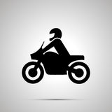 Motorcyclist simple black icon Stock Photo