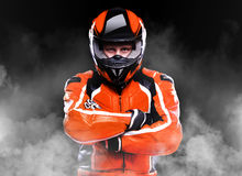 Motorcyclist in smoke Stock Images