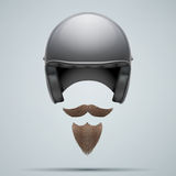 Motorcyclist symbol with mustache and beard. Royalty Free Stock Photos