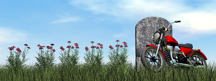 Motorcyclist tombstone - 3D render Royalty Free Stock Photography