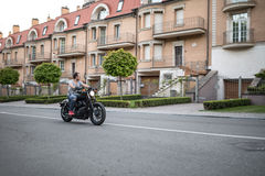 Motorcyclist in the town Royalty Free Stock Images