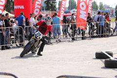 Motorcyclist on track. A motorcyclist from Free Riders at the Iubim 2 roti (We love two wheels) event in Romania, at Romexpo. At this event it was seen a show Royalty Free Stock Images